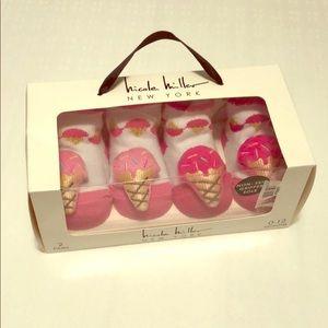 Nicole Miller Pink Cupcake Booties Baby Girl Shoes